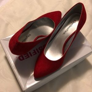 Red suede high heels size 7